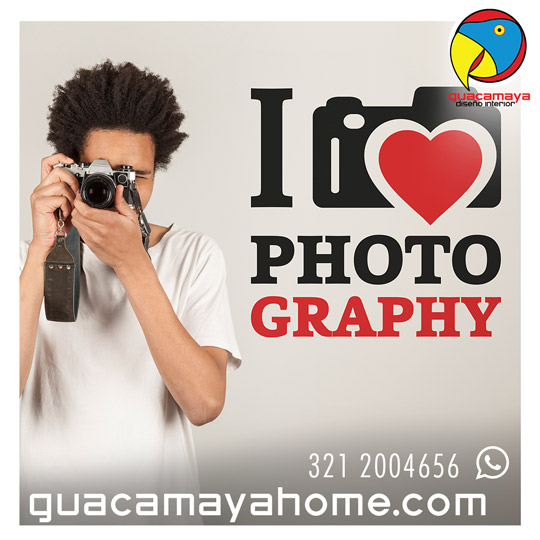 Sticker Vinilo decorativo I love Photo