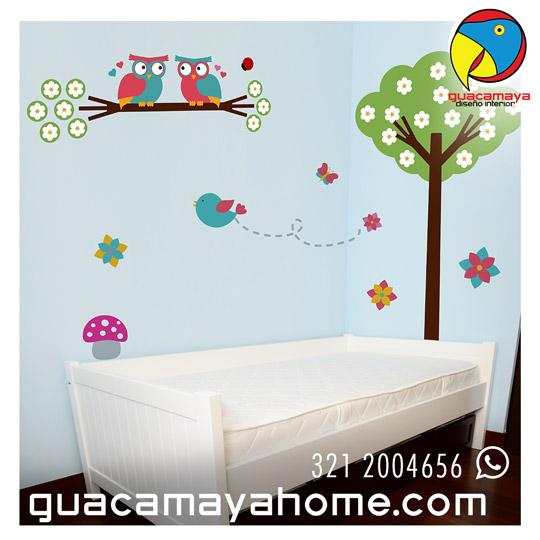 Happy bosque guacamaya vinilos decorativos - Vinilos decorativos ninas ...