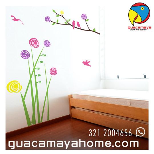 Vinilo Sticker Npajaros flores colores