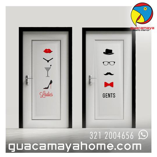 Puertas Baños 02 Guacamaya Vinilos Decorativos