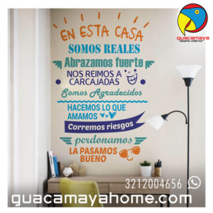Stickers Vinilos Reglas de la Casa 07 Happy