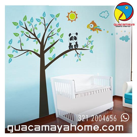 Sticker Vinilo Selva Arbol Panda y Guacamaya