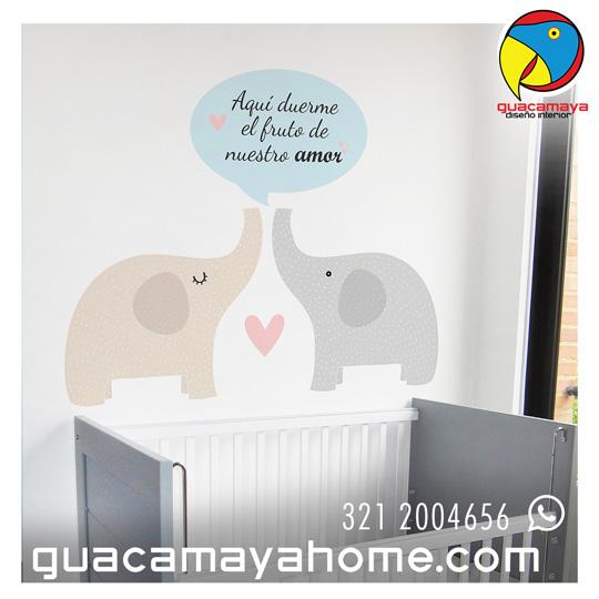 Sticker Vinilo Elefantes Papas